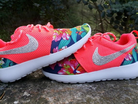 404812dcd20c Custom womens nike roshe run fabric floral coral color with no