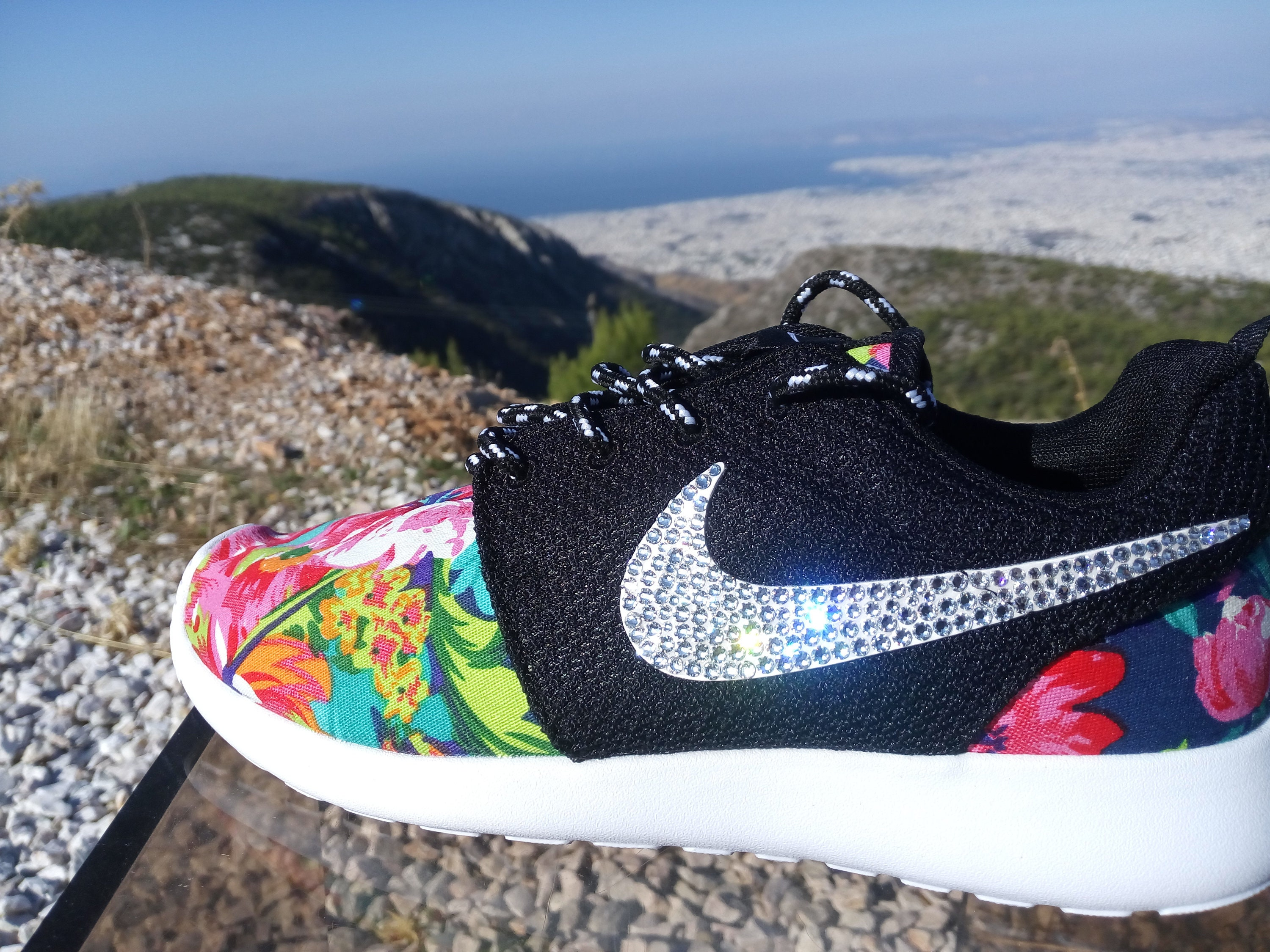 finest selection 48b3e 2b659 Custom womens nike roshe run fabric floral black color shoes   Etsy