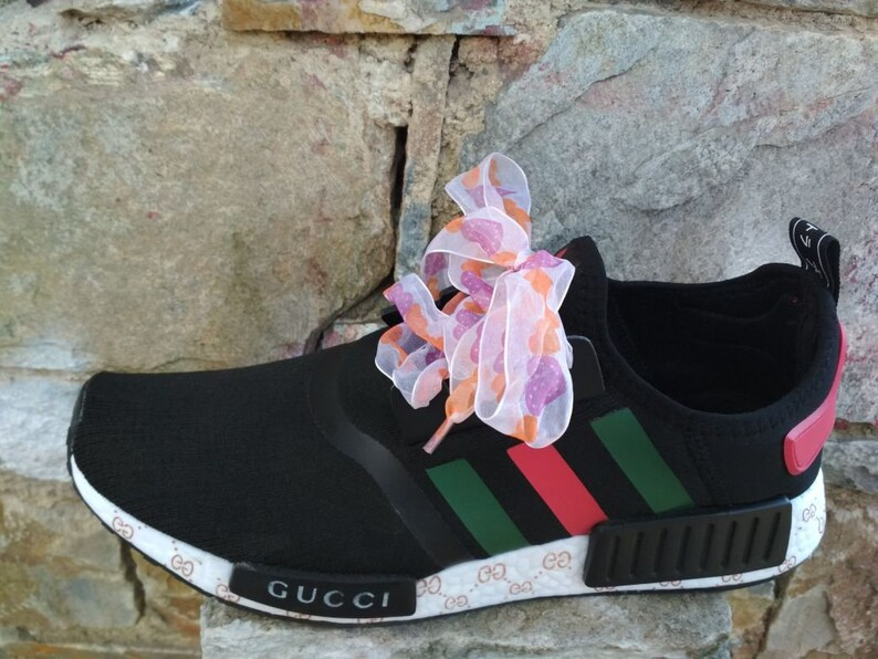 Custom adidas nmd shoes gucci style mens womens black and  f4f3c3621