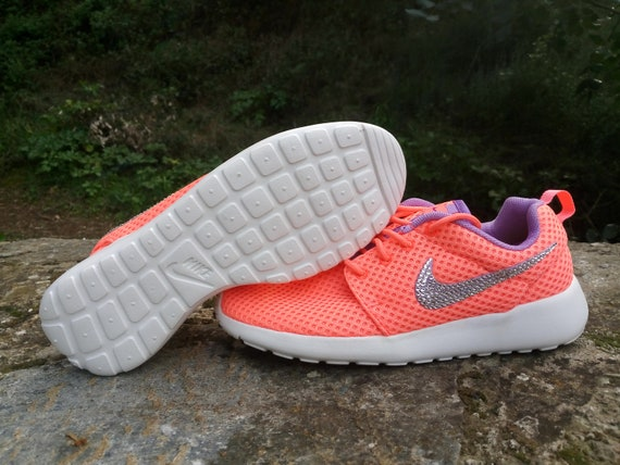 reputable site 89b08 e0fda ... buy custom womens nike roshe run br coral color shoes white sole  blinged by hand with