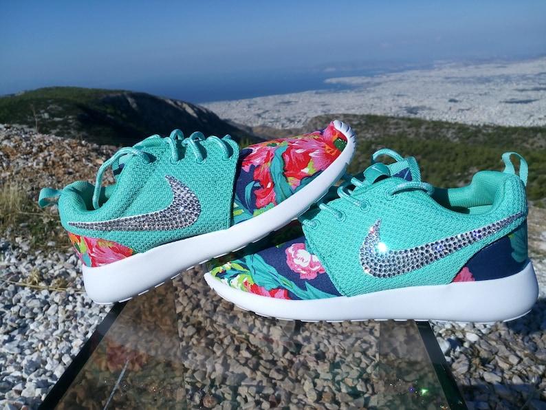c790c1d119d3 Custom womens nike roshe run fabric floral aqua green color
