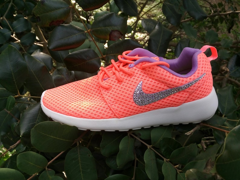 sports shoes db293 363c3 Custom womens nike roshe run br coral color shoes white sole | Etsy