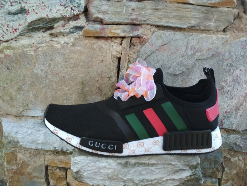 Custom adidas nmd shoes gucci style mens womens black and  b0c49daf32