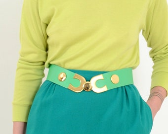 Gold Buckle Belt by Croute de Cuir