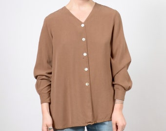 90s Vintage Pale Brown Silk Button Top / by Alfred Dunner / medium - large