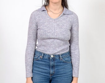Lavender Knit 70s Pullover / made in USA by Sweater Brand / small - medium