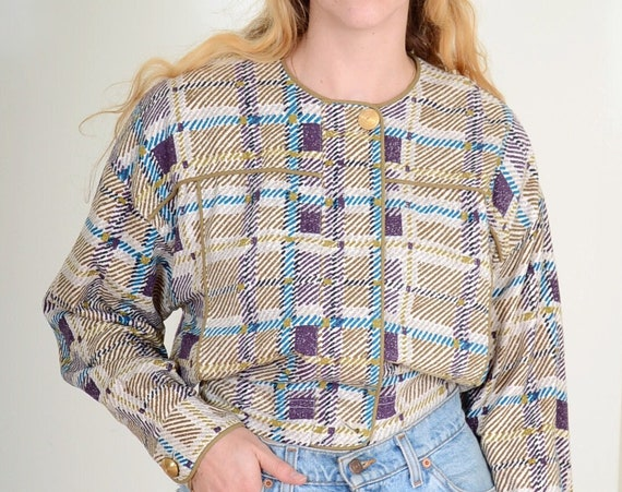 80s Cropped Plaid Silk Jacket / Small - Med