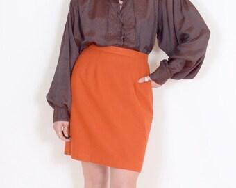 80s Orange Wool Pencil Skirt