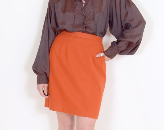 "80s Orange Wool Pencil Skirt / 28"" waist"