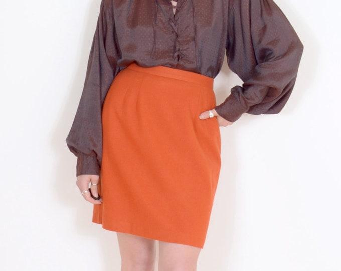 Featured listing image: 80s Orange Wool Pencil Skirt