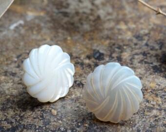 Vintage Abalone Stud Earrings / half inch round