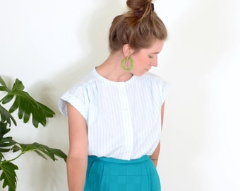 80s Striped Cotton Button Blouse