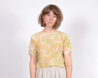 Marble Dyed Cropped Silk Tee / small - medium