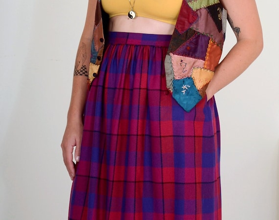 "80s Plaid Wool Blend Skirt by Liz Claiborne / 25"" waist"