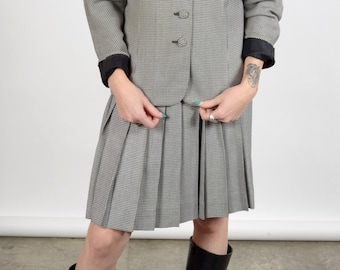 1980s Grey Houndstooth Skirt Suit / made in USA by Talbots / size 4 / small - medium