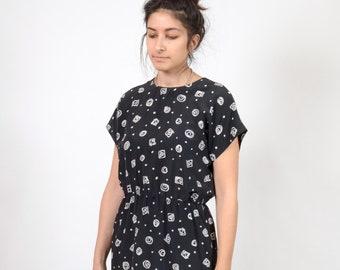 Black and Novelty Print Dress / by Liz Claiborne / medium - large