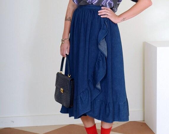 "70s/80s Ruffled Denim Wrap Skirt / 26"" waist"