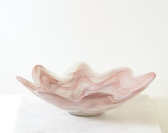 Raspberry Swirl Art Glass Statement Bowl