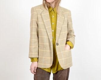 1980s Wool Blend Plaid Blazer / by Savannah / medium - large