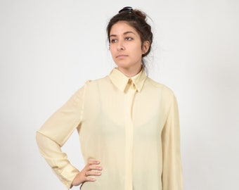 b1c77fa7 Ivory Silk Blouse by Giorgio Armani / Silk Organza Button Blouse / Minimal  Style 90s Vintage / Designer Vintage / size Small - Medium