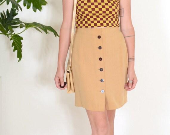 90s Golden Silk Button Up Skirt