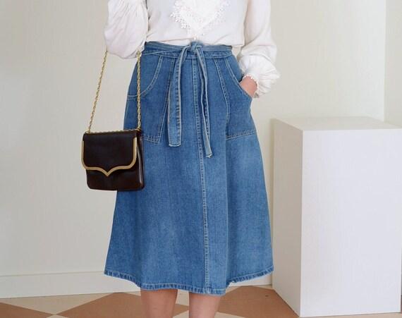 70s Denim Wrap Skirt / Small - Med