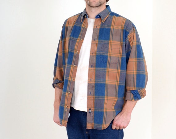 90s Plaid Button Down by Lee / Med - Large