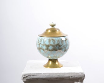 """Painted Porcelain Canister with Brass Lid / 7"""" height"""