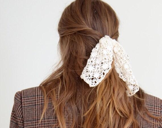 Ivory Lace Hair Bow Barette