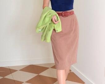 80s Blush Cotton Pencil Skirt