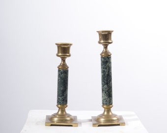 Marble Candlesticks with Brass Accents / set of 2