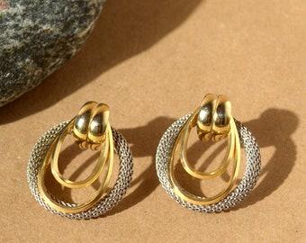 """Vintage Metal Two Tone Earrings / 1.5"""""""