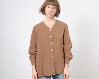 723da87a122070 Pale Brown Silk Top   Minimal Style Blouse with Shell Buttons   V-Neckline  Button Up Blouse   size Medium - Large