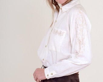 80s Embroidered Cotton Button Up
