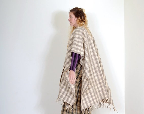 70s Gingham Wool Fringe Poncho / Small - XXL