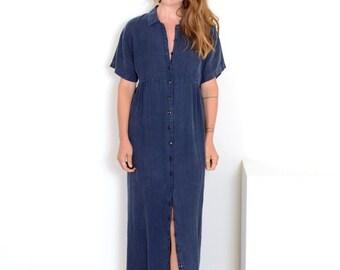 90s Navy Linen Button Dress by Kiko