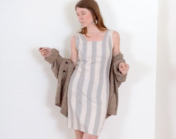 90s Striped Grey Tank Dress / Medium