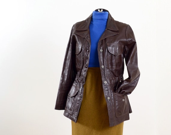 70s Brown Leather Snap Button Jacket