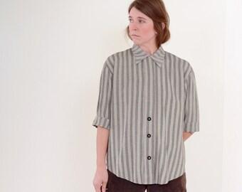 80s Striped Grey Button Blouse