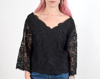 1950s Black Lace Bell Sleeve Blouse / small - med - large