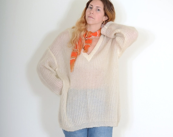 Loose Knit Mohair Sweater / Med - XL