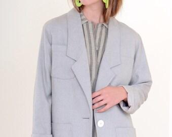 80s Pale Grey Blazer Jacket