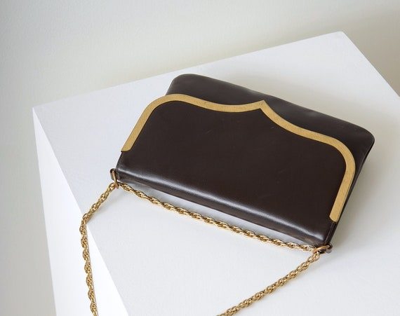 60s Patent Leather Gold Chain Bag by Block