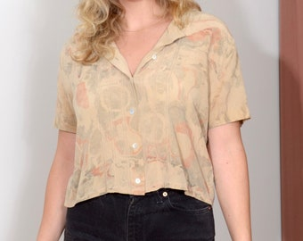 Marble Dyed Silk Button Blouse / Crater Pattern