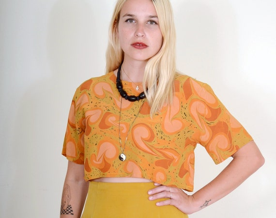 Marble Dyed Silk Tee / Terracotta Peach Swirl Pattern / Reworked Vintage / Small - Med