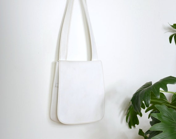 70s White Leather Messenger Bag by Bonnie Cashin for Meyers