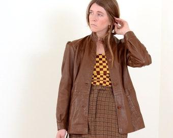 70s Leather Puff Shoulder Jacket