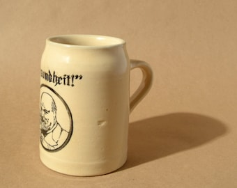 "1930s ""Gesundheit!"" Beer Stein / Made in Stroudsburg, Pennsylvania / 5"""
