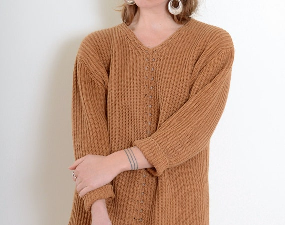 80s Caramel Chunky Knit Pullover