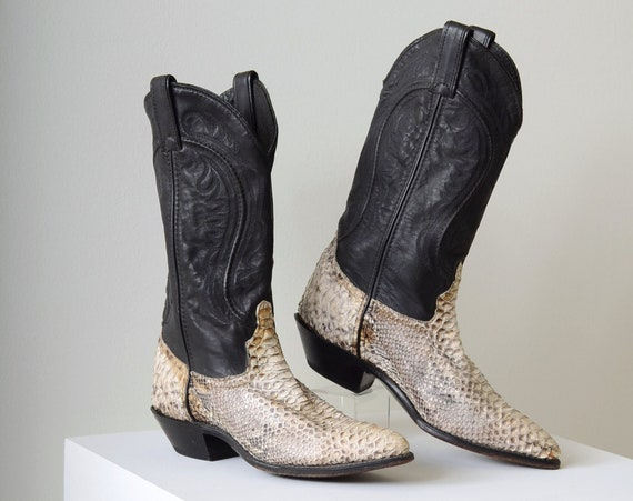 Black Leather Snakeskin Cowgirl Boots / womens Size 6